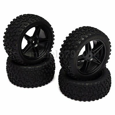 4PCS Set of 12mm Hex Front & Rear Tire Wheel For 1:10 RC Off Road Buggy Car Toy