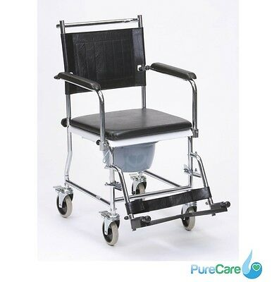 Drive Devilbiss Wheeled Commode Toilet Chair 4 Braked Castors Footrests Aid