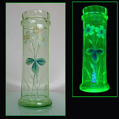 ANTIQUE VICTORIAN c1920 FLORAL ENAMELLED VASELINE GLASS VASE ART NOUVEAU