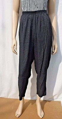 Vintage 1990s Black Pin Stripe Print High Waisted Summer Trousers 12-14