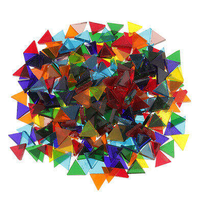 500pcs Mixed Color Clear Triangle Rhombus Glass Mosaic Tiles Piece for Craft