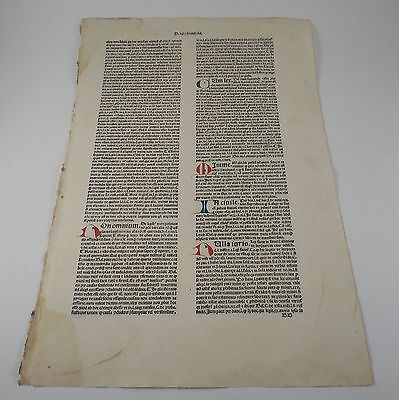 1491 Massive Incunable Leaf Incunabula - Early Typography Press History Milan