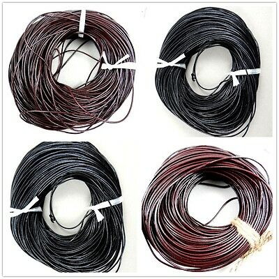 100% Real Genuine Leather Thong Cord- 1mm 1.5mm 2mm 2.5mm 3mm 4mm Black or Brown
