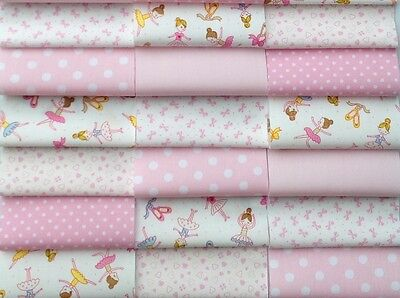 """Fabric patchwork squares 30 x 4"""" 10cm cotton quilting craft baby girl pink 8O"""