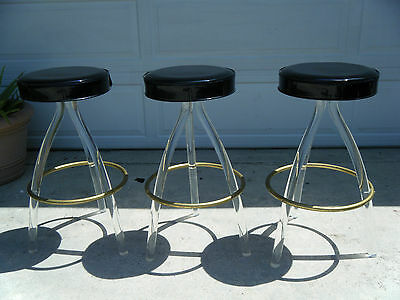 Vintage MCM Set Of 3 Lucite Bar Stools Black Seat