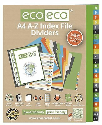 A4 File Dividers For Ring Binder A-Z Alphabet Extra Wide - 50% Recycled Material