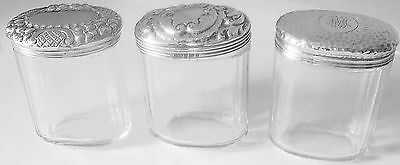 Antique Sterling Covered Oval Vanity Jars -Collection Of Three