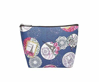 Canvas Large Navy Make-up Bag Vintage Print Cosmetic Travel Bag Handbag
