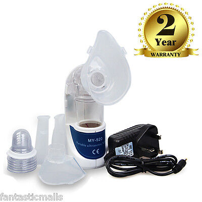 Portable Ultrasonic Nebulizer Travel Emergency Inhaler Respirator for Kids Adult