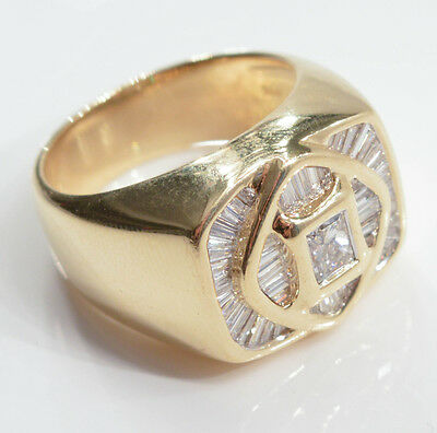 C470 Man Ring 18K Yellow GOLD with DIAMONDS 17.3g size 9 1/2