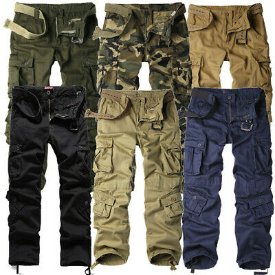 Mens NEW Cargo Pants Heavy Duty Military Colours Straight Leg Sizes 30 to 40