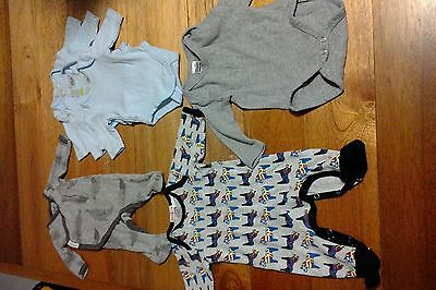 Bonds Coverall Size 00000 and Papoose Onsie Size NB plus Long Sleeve Singlets