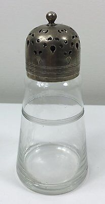 Vintage Sugar Castor Shaker Sifter - Cut Glass With Silver Plate Top