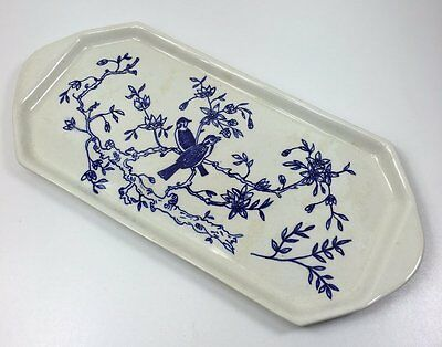 Vintage Hand Painted Blue & White Bird Sandwich Cake Plate - Mmd 1958