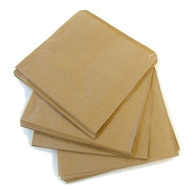 "100 x Brown Kraft Strung Paper Bags 6"" x 6"" Fruit Sweets Crafts Picnic Groceries"