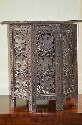 Antique 19th Century Indian Intricately Carved Hexagonal Side Table,c1880