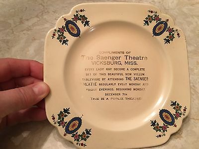 Vtg SAENGER THEATRE theater Vicksburg MS advertising giveaway promo plate movie