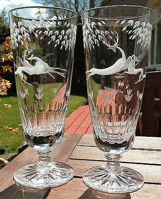 Pair Large 22cm Lead Crystal Cut Glass Goblets depicting a Stylized Stag & Hound