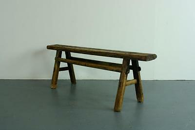 Old Rustic Antique Vintage Wooden Waxed Pig Bench Small Pb23