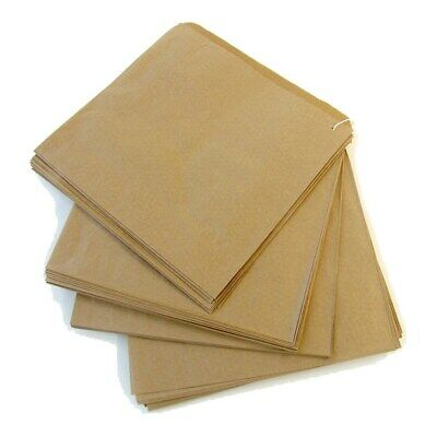 "200 x Brown Kraft Strung Paper Bags 6"" x 6"" Fruit Sweets Crafts Picnic Groceries"