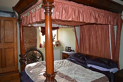 Fine Antique 19th Century Mahogany 7 Feet Tall Double Four Poster Bed,c1890