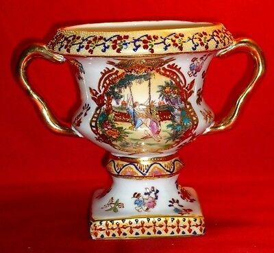 Continental Polychrome Enamel ~  Decorated & Gilded ~ Urn-form Porcelain Vase