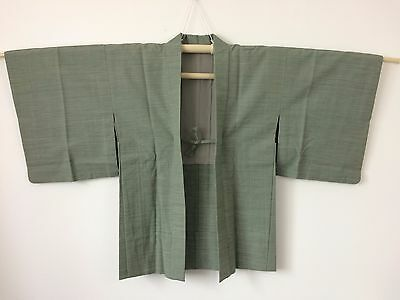 Authentic Japanese green wool haori jacket for kimono, Japan import (J1454)