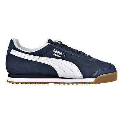 Puma Roma Suede Jr Big Kid's Shoes New Navy/White 363003-01