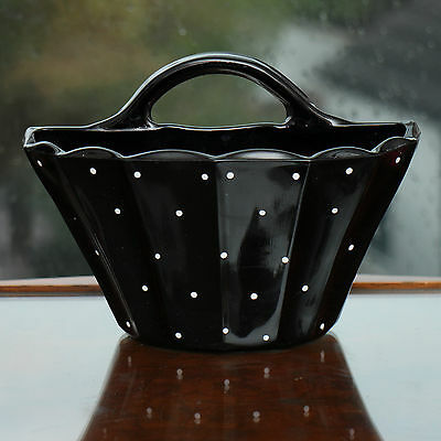"""Bagley art deco Grantham black glass wall pocket with white dots 7x5"""" design 334"""