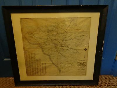 Antique Linen Map (1891) Lancaster County, Pa. Showing Railroads,Townships, etc