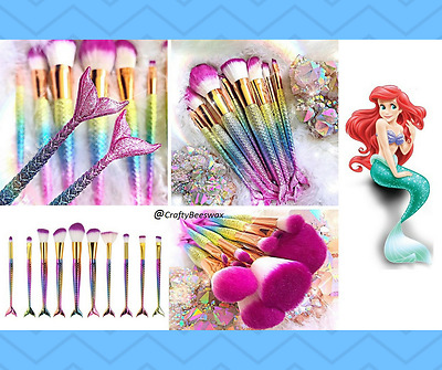 10Pcs Mermaid Glitter Rainbow Brush Set Fishy Tail Makeup in Rainbow Colours
