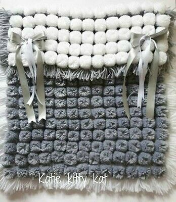 Pom Pom Turnover Baby Blanket White & Silver Grey  With Removable Bows