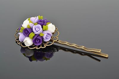 Polymer Clay Invisible Hairpin Lilac Roses