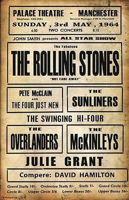 1963 Rolling Stones Concert METAL TIN SIGN POSTER WALL PLAQUE