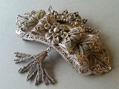 STUNNING ANTIQUE Ottoman belt buckle SILVER filigree with crown and gilding XIXc