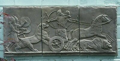 """Antique Reproduction Assyrian Wall Plaque Bas Relief Carving Dark Sandstone 36"""""""