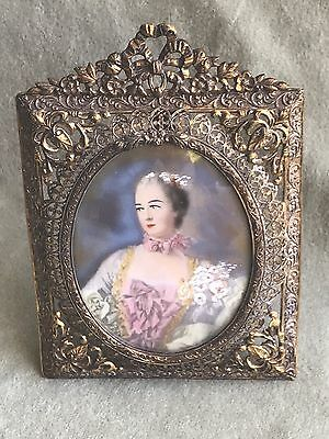 Nice Antique Brass Reticulated Picture Frame w/ Hand Embellished Print