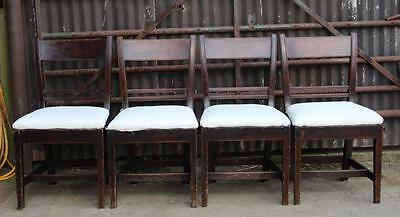 A Set of Four Late C18th Oak Dining Chairs Pegged Construction