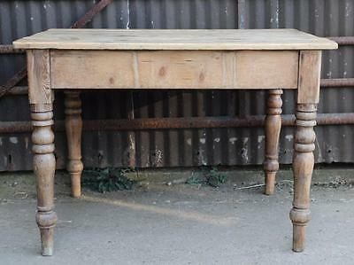 A Victorian Farmhouse Pine Plank Top Kitchen Table Turned Legs