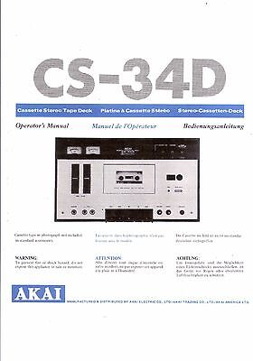 Akai  Bedienungsanleitung user manual owners manual  für CS- 34D