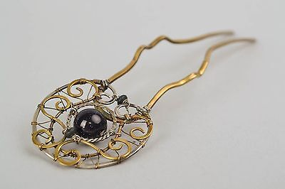 Designer Metal Hair Pin With Natural Stone Cairo Night
