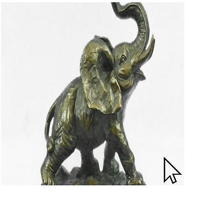 Handcrafted Bronze Elephant Figurine Sculpture Statue African Signed Figure