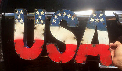 Rustic Look All Metal USA Sign Man Cave Cabin Decor America 3D Letters