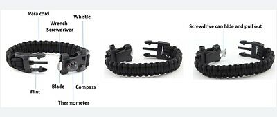 "9"" survival paracord bracelet  with multi function tool.   USA SELLER"