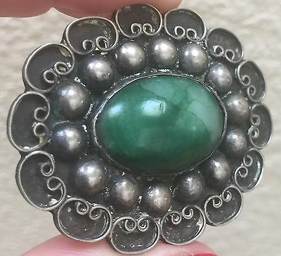Large Vintage Old Mexico Antique Mexican Sterling Silver Green Jade Pin