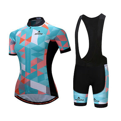 Cycling Kit Women's Bicycle Clothing Bike Cycle Jersey and Bib Shorts Padded Set