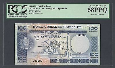 Somalia 100 Shillings 1978 P24s Specimen Perforated About Uncirculated