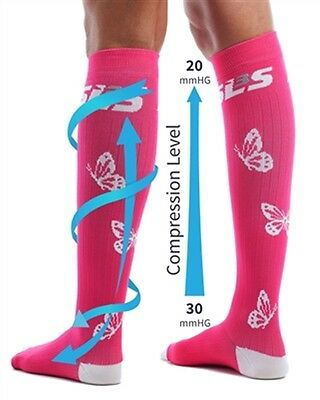 SLS3 Butterfly Compression Socks - XS/S - Pink - 20-30mmHg Graduated Compression