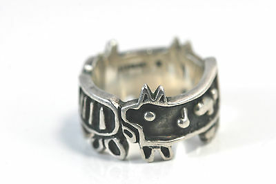 D038 Cat Dog Sterling 925 Band Ring 11g size 8