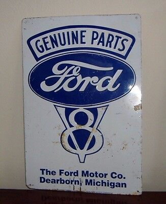 Old Metal Advertising Sign For Genuine Ford V-8 Parts From Local Garage - Vgc